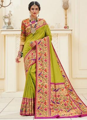 Weaving Banarasi Silk Green Traditional Designer Saree