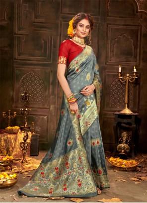 Weaving Banarasi Silk Grey Classic Saree