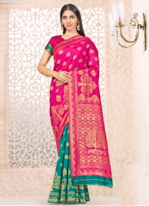 Weaving Banarasi Silk Half N Half  Saree in Hot Pink and Sea Green