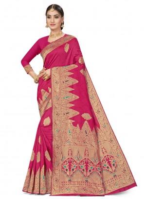 Weaving Banarasi Silk Hot Pink Designer Traditional Saree