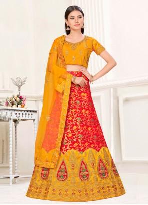 Weaving Banarasi Silk Red Lehenga Choli