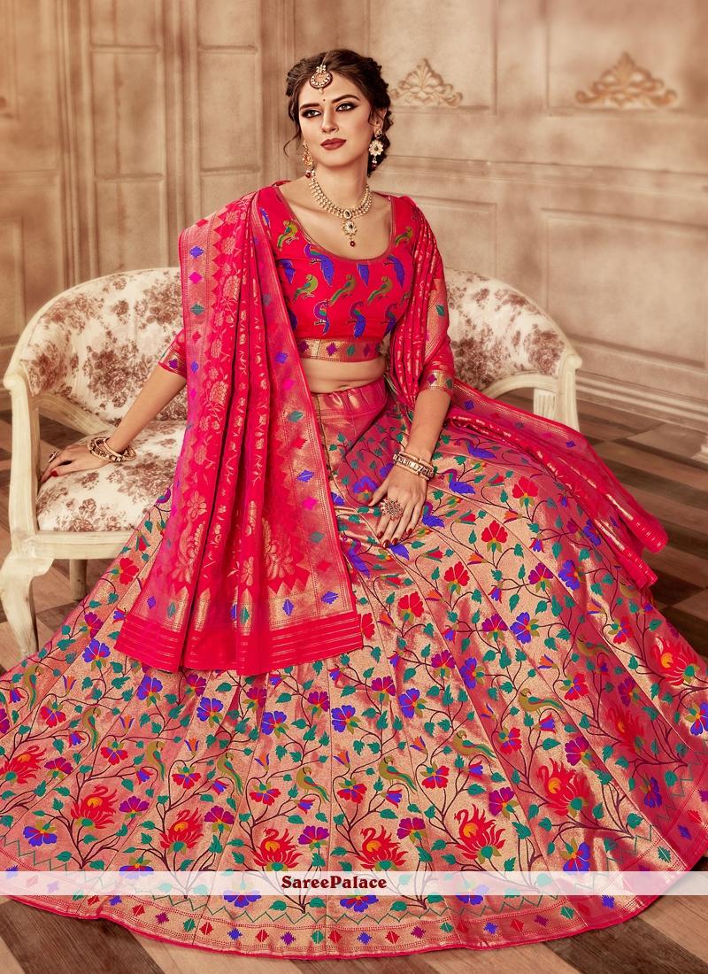 63d12171352 Buy Weaving Banarasi Silk Lehenga Choli Online