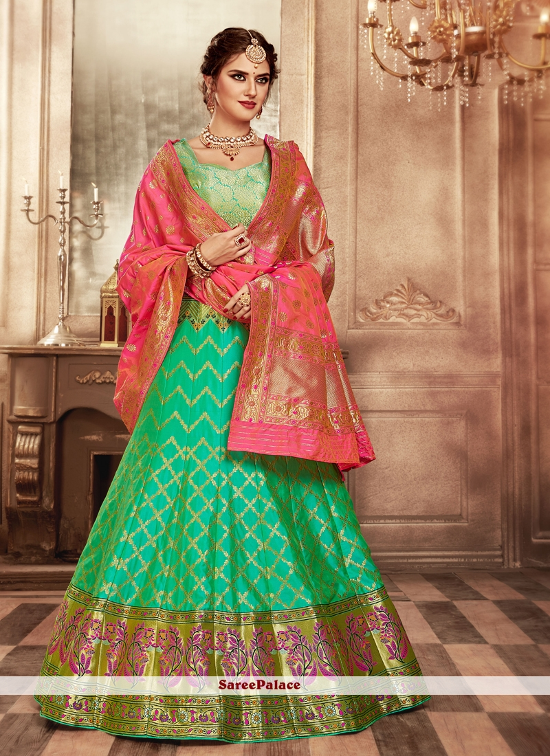 Weaving Banarasi Silk Lehenga Choli in Green