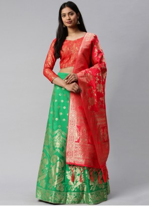 Weaving Banarasi Silk Lehenga Choli in Green and Rose Pink