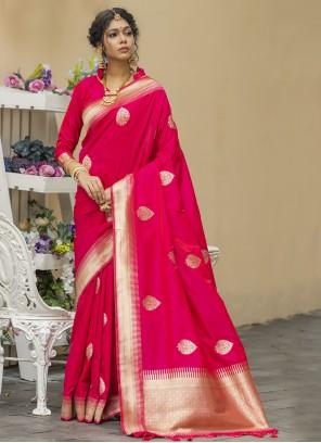 Weaving Banarasi Silk Pink Designer Traditional Saree