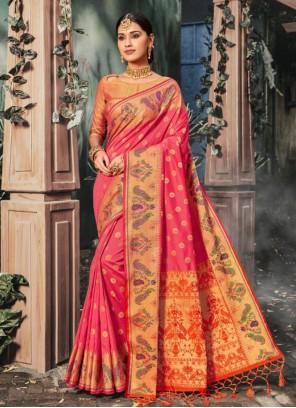 Weaving Banarasi Silk Pink Trendy Saree