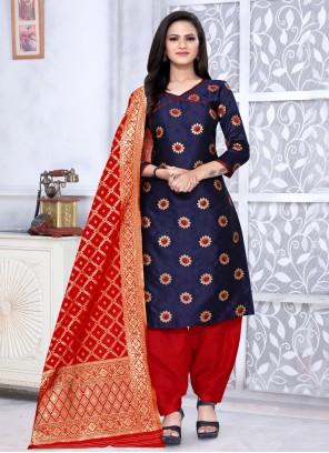 Weaving Banarasi Silk Punjabi Suit in Navy Blue