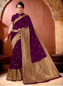 Weaving Banarasi Silk Purple Designer Saree