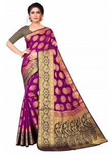 Weaving Banarasi Silk Purple Designer Traditional Saree
