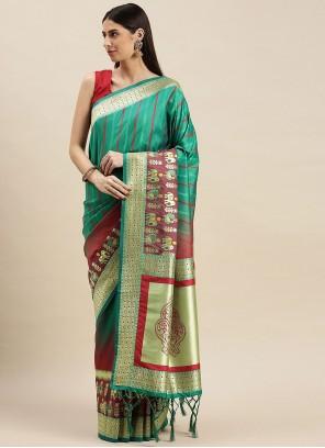 Weaving Banarasi Silk Rama Designer Traditional Saree