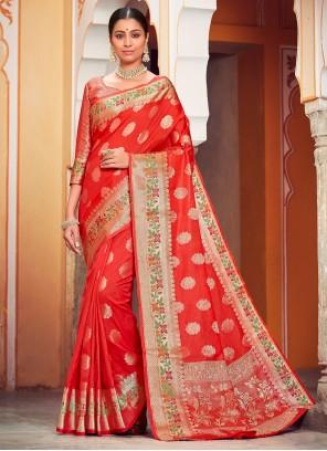 Weaving Banarasi Silk Red Classic Saree