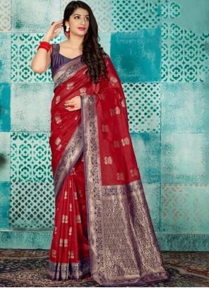 Weaving Banarasi Silk Red Designer Saree