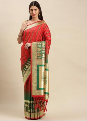 Weaving Banarasi Silk Red Traditional Saree