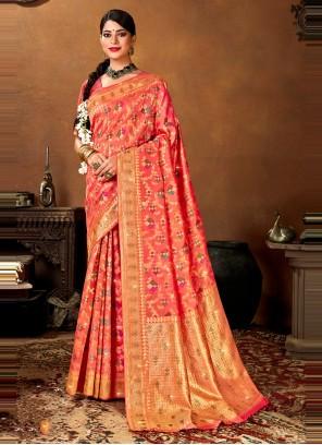 Weaving Banarasi Silk Rose Pink Designer Traditional Saree