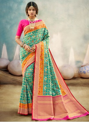 Weaving Banarasi Silk Sea Green Traditional Designer Saree