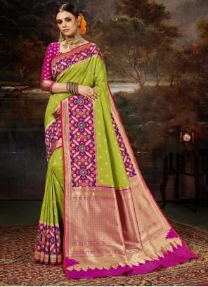 Green Weaving Banarasi Silk Saree