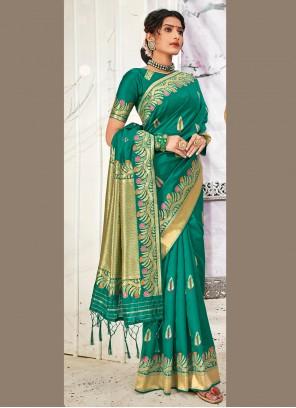 Weaving Banarasi Silk Teal Traditional Designer Saree