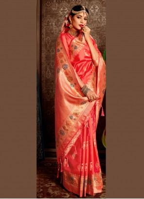 Weaving Banarasi Silk Pink Traditional Designer Saree