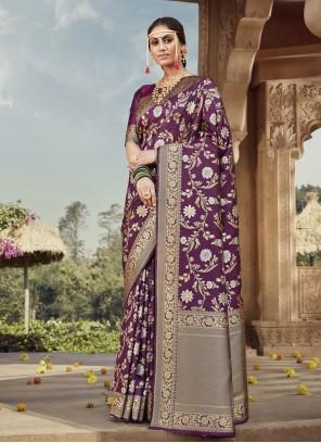 Weaving Banarasi Silk Purple Traditional Designer Saree