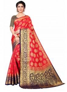 Red Weaving Banarasi Silk Traditional Designer Saree