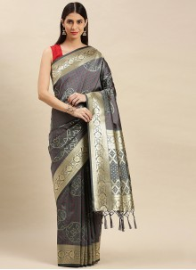 Weaving Banarasi Silk Traditional Designer Saree in Grey