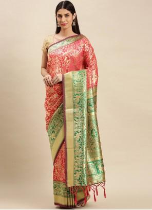 Weaving Banarasi Silk Traditional Designer Saree in Pink