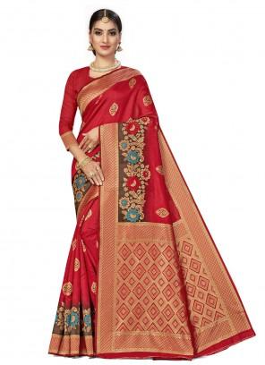 Weaving Banarasi Silk Traditional Designer Saree in Red