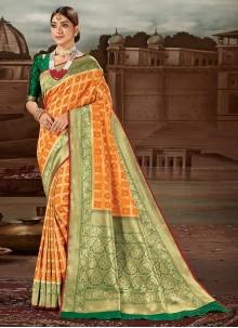 Weaving Banarasi Silk Traditional Designer Saree in Yellow
