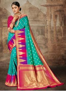 Aqua Blue Weaving Banarasi Silk Traditional Saree