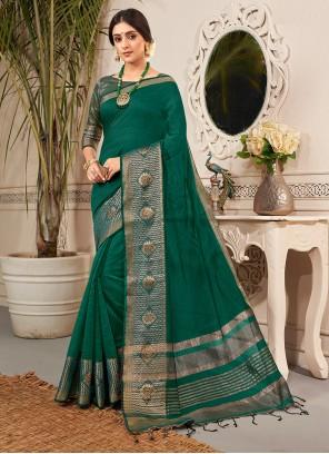 Weaving Banarasi Silk Green Traditional Saree
