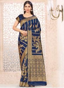 Weaving Banarasi Silk Traditional Saree in Navy Blue
