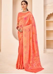 Weaving Banarasi Silk Traditional Saree in Peach