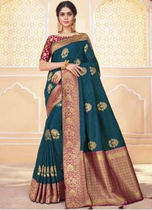 Weaving Banarasi Silk Traditional Saree in Teal