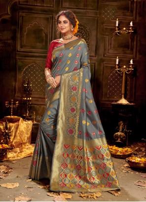 Weaving Banarasi Silk Trendy Grey Saree