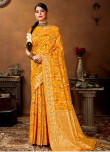 Weaving Banarasi Silk Yellow Designer Traditional Saree