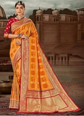 Weaving Banarasi Silk Yellow Traditional Designer Saree