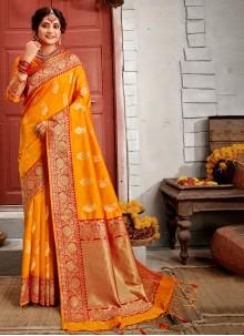 Weaving Banarasi Silk Yellow Traditional Saree