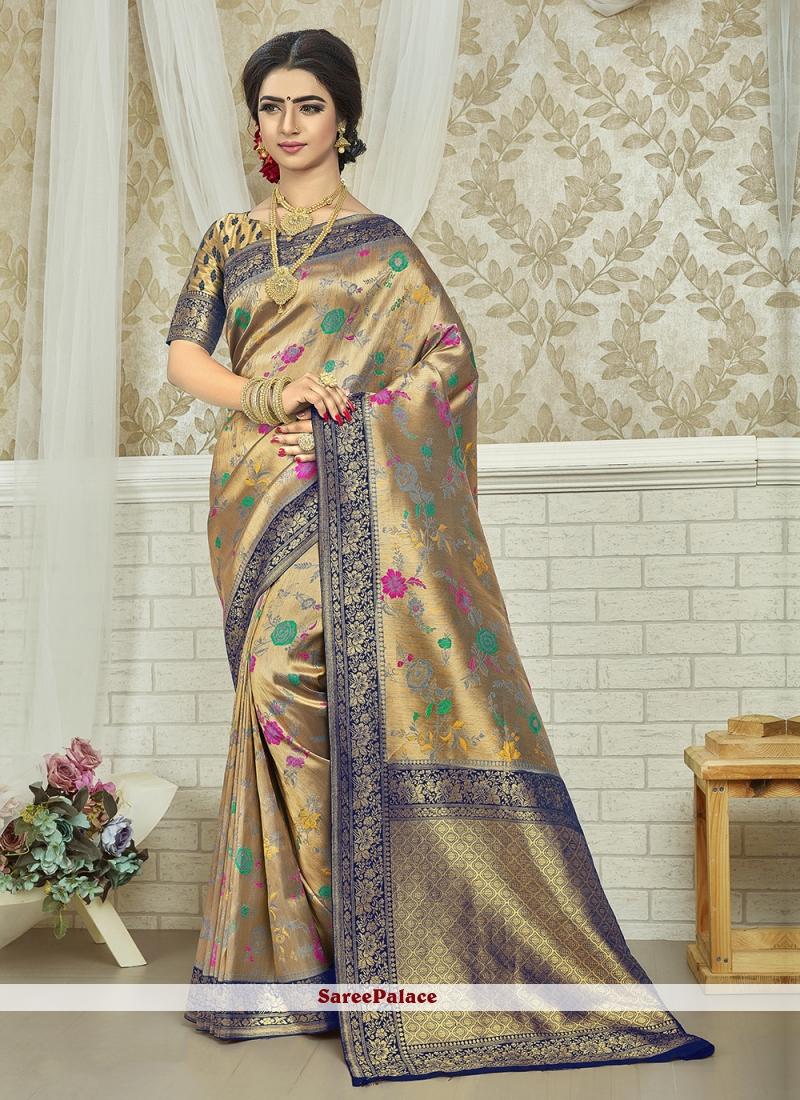 Weaving Beige and Blue Art Silk Saree