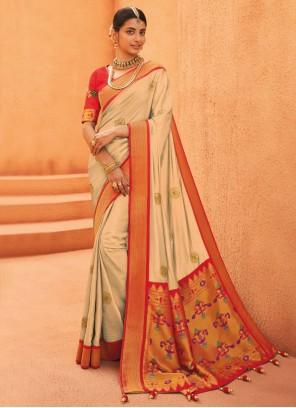 Weaving Beige Silk Designer Traditional Saree