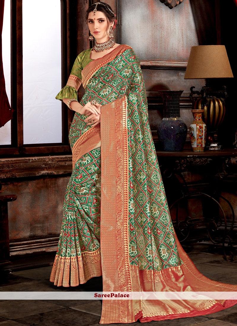 Weaving Bhagalpuri Silk Designer Saree in Green