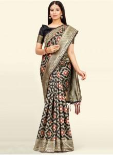 Weaving Black Art Silk Designer Traditional Saree