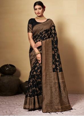 Weaving Black Banarasi Silk Classic Designer Saree