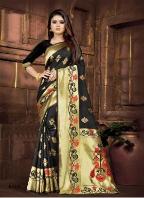 Weaving Black Silk Designer Saree