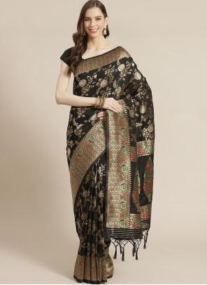 Weaving Black Silk Designer Traditional Saree