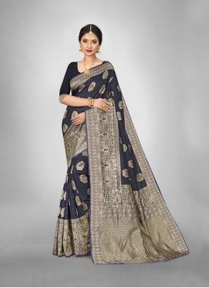 Weaving Black Trendy Saree