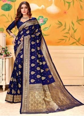 Weaving Blue Art Silk Trendy Saree