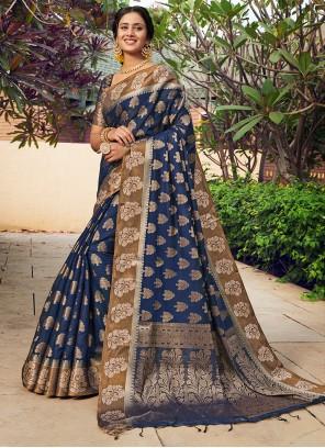 Weaving Blue Banarasi Silk Designer Traditional Saree