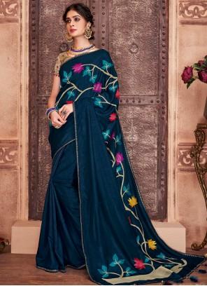 Weaving Blue Classic Designer Saree
