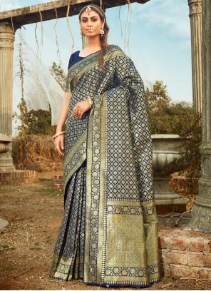 Weaving Blue Contemporary Saree