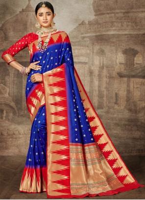 Weaving Blue Designer Saree